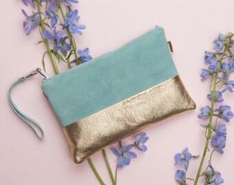 Mint Green Gold Leather Clutch // Bridal Clutch // Leather Pouch // Leather Clutch Purse // Leather Clutch // Evening Bag // Statement Bag