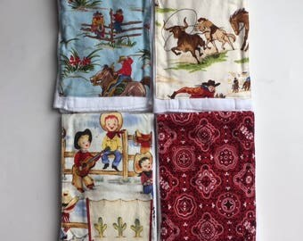 Cowboy Burp Cloths // Set of 4