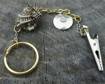 Wire Wrapped Pyrite Roach Clip Keychain
