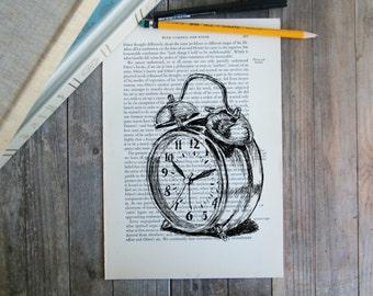 Bedroom decor, Dictionary art, Alarm clock print, Office decor, Vintage style poster, Antique print,Kitchen decor