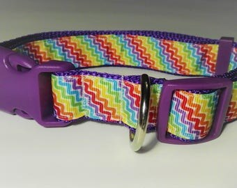 Adjustable Colourful Wars Dog Collar - Purple