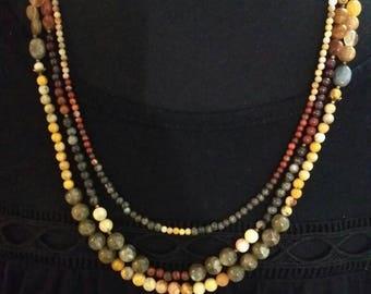 Crazy triple necklace - labardorit, red jasper & crazy agate
