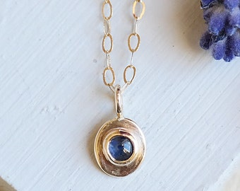 Sapphire Necklace, Gold Necklace, Gold Sapphire Necklace, Sapphire Pendant, Birthstone Jewelry, Gold Pendant, 9ct Gold, Gemstone Necklace