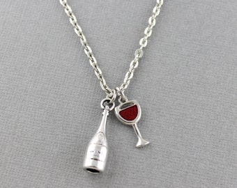 Wine Charm Necklace - Wine Necklace - Wine Jewelry - Bartender Gift, Wine Lover Gift,Wine Gift - Silver Charm Necklace w. Wine Bottle, Glass