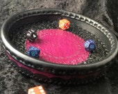 Black and Purple Leather Dice Tray
