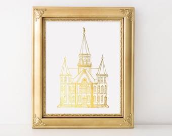 Illustrated Provo City Center Utah Temple Gold Foil Art Print