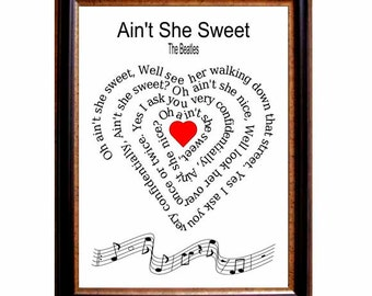 Oh ain't she sweet, The Beatles, print, Beatles song lyric,  Beatles song art,  Beatles music print, Song Lyric, heart shape Spiral,