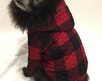 Red and Black Buffalo Plaid Dog Hoodie, Pet Sweater for Small Breeds