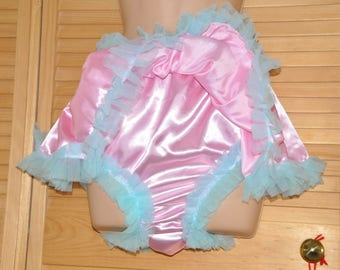 Chiffon lined silky fully skirted sissy silky satin panties, sissy pink,  Sissy Lingerie