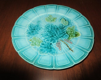 GERMANY MAJOLICA PLATE with Grape Leaves