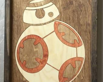 BB8 Wooden Inlay Wall Art