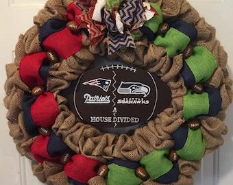 New England Patriots wreath, Seattle Seahawks wreath, A house divided wreath, burlap football wreath, Patriots sign, Seahawks sign, football
