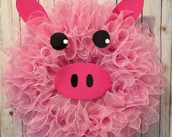 Summer wreath, Spring wreaths, pig wreath, farm animals, animal wreath, farm decor, pig decor, little pig, pink wreath, farm wreath, pig