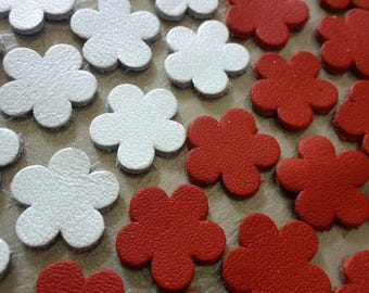 Leather Flowers, 50 Pcs, 16 mm. 20 mm. 25 mm. 30 mm. , Red & White Pearl, Leather Flowers Die Cut, Flowers Decoration, DIY Projects.