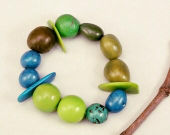 Tagua bracelet, green bangle, sphere bracelet, eco jewelry, turquoise bangle, colorful bracelet, sustainable jewelry, women bracelet, carved