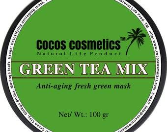 Mothers Day gift/ Matcha green tea mix clay mask - French green clay - Moringa -Matcha- Ginkgo biloba - antioxidant vegan face mask