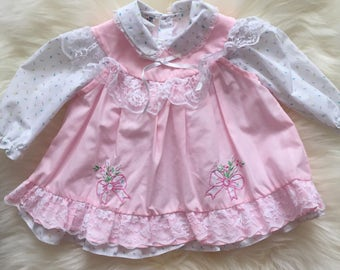 Gorgeous light pink easter spring dress for baby girl with pinafore