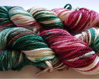 Hand dyed yarn, 100g Bulky weight, Superwash merino, Red, green, and brown, Ready to ship, Yule