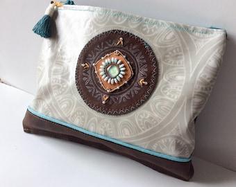 Mandala Embroiderd Leather Shoulder Bag Brown/Grey/Aqua