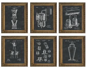 Beer Brewing Patent Print Whiskey Art Alcohol Art Bartender Gift for Him Bar Art Micro Brewery Wall Art Man Cave Artwork Set of 6 PP 10605