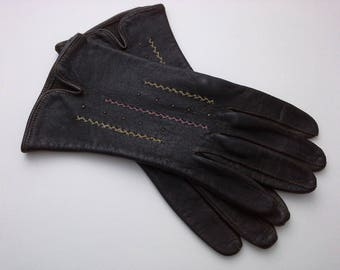 Vintage Gloves, Gray Leather Gloves, Gray Gloves, Embroidered Gloves, Vintage Gray Gloves, Vintage Leather Gloves, Pink Yellow Stiching