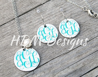 Silver Disc with Pearl Pendant Necklace and Silver Disc Hanging Earrings set