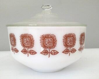 Fire King Mixing Bowl - Vintage, Heat Proof, Brown Sunflower Design - 2 1/2 Quart