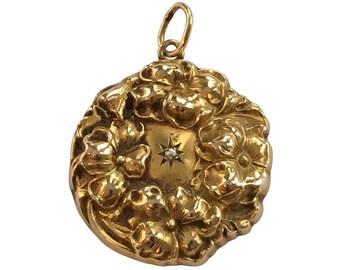 Art Nouveau 14K Gold Floral Locket with Diamond