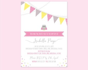Personalised Christening Invitation Girl - Pack of 12