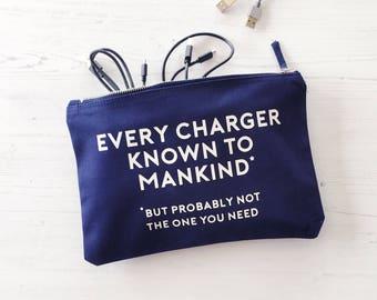 Charger Bag, Birthday Gift, Cable Storage, gift for him, gift for boy, travel bag, cable bag, holiday bag, overnight bag, zippered bag