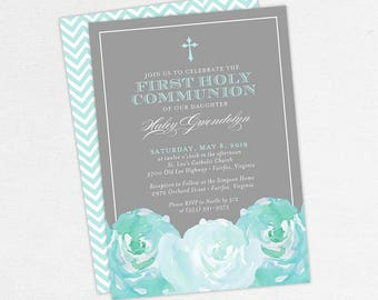 First Communion Invitation, First Holy Communion Invitation, Religious, Printed, PDF, DIY Communion Invite, Watercolor Flowers, Blue, Haley
