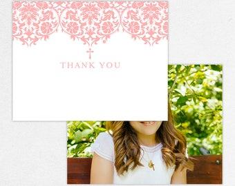 Communion Thank You Card, Photo Communion Thank You, Printable Communion Thank You, Printed Thank Yous, Damask, Floral, Lace, Pink, Maura