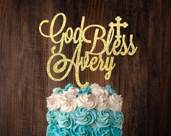 Baptismal Cake topper, Personalized christening or baptismal cake topper, God bless cake topper