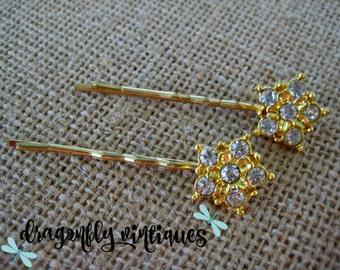 Hair Pins, Rhinestones, Gold Tone, Wedding, Bridesmaids,Gift for Her    {105}