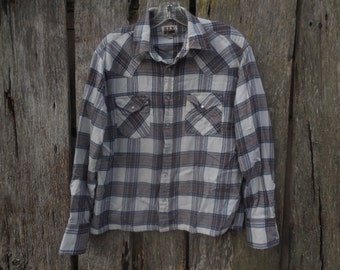 Vintage Ely Cattleman Pearl snap flannel shirt Browns Blue Cream Western style yoke hipster street wear look urban style