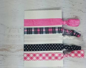 Pink and Black Hair Ties