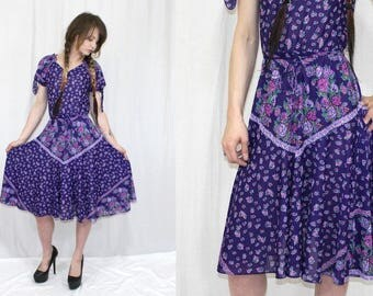 Vintage 80s Purple FLORAL Semi Sheer Full Skirt Retro Boho Tie Slv Midi Dress S