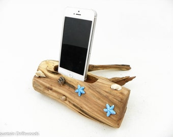 Decorated Phone dock, Docking station includes USB Cable, iPhone 6+ Dock, iPhone 5, 6 and 6+ Docking Station made from Aged Manzanita Wood