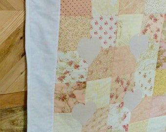Pink Nursery Quilt / Hearts and Flowers Quilt /Handmade Nursery / Baby Shower Gift