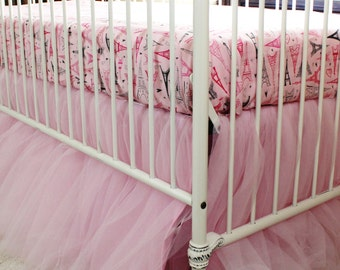 Tulle Tutu Gathered Crib Skirt with choice of sheet - gold dots or pink paris