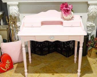 Powder Pink Three-Drawer Work Desk w/ Matching Chair