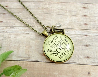 I Wait for the Lord, My Soul Waits Psalm Scripture Bible Verse Pendant Necklace When Waiting for Baby, Marriage, Adoption