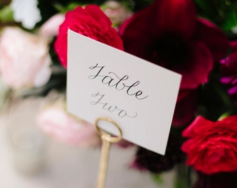 "3""x3"" Wedding Table Numbers with Custom Calligraphy"