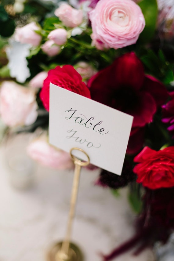 """3""""x3"""" Wedding Table Numbers + Custom Calligraphy 
