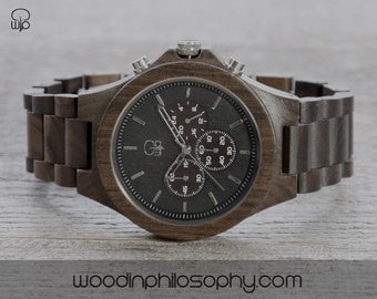 Wood Watch Dark Sandalwood   Engraved Wooden Watch Chrono   Dark Wood Chronograph   Personalized Wood Watch For Men   Best Gift For Men