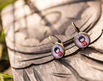 Kokeshi doll red jewellery accessories - women gift earrings-Stud Earrings