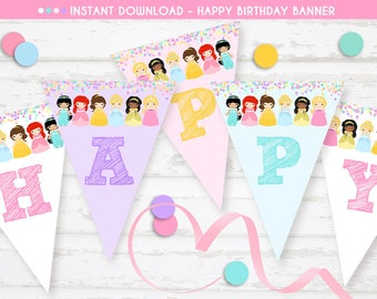 PRINCESS BANNER, Princess Bunting, Happy Birthday Bunting Flags, Instant download, Princess Happy Birthday Banner, Pennant Flags, Princess