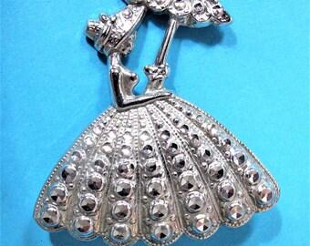 Beautiful Vintage Charles Horner Style Detailed Crinoline Lady 'Stay-Brite' Brooch