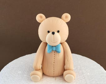 Fondant teddy bear cake topper. Fondant bear cake topper. Teddy bear baby shower