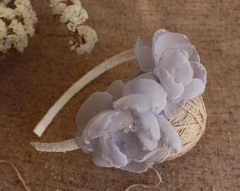 Blue gray flower headband, Serenity flower headband,Women Adults Girls Baby Toddler flower Headband,Wedding Headband,Bridesmaids Headband,